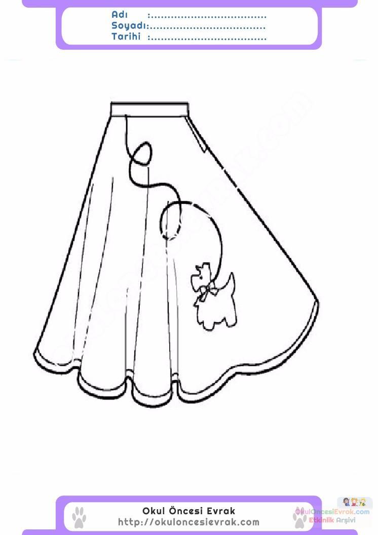 çocuklar Için Etek Kıyafet Giysi Boyama Sayfası 14 Preschool Activity