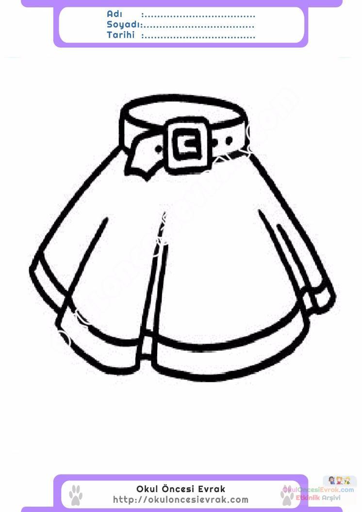 çocuklar Için Etek Kıyafet Giysi Boyama Sayfası 17 Preschool Activity