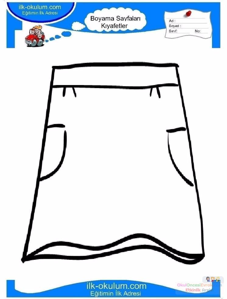 çocuklar Için Etek Kıyafet Giysi Boyama Sayfası 2 Preschool Activity