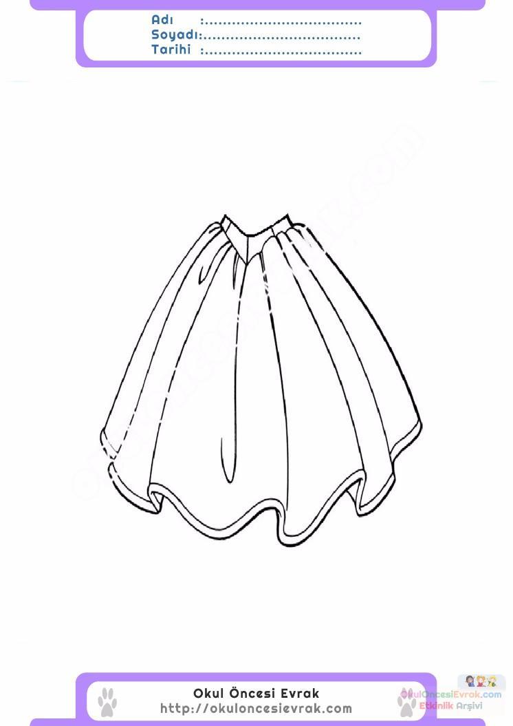çocuklar Için Etek Kıyafet Giysi Boyama Sayfası 4 1 Preschool
