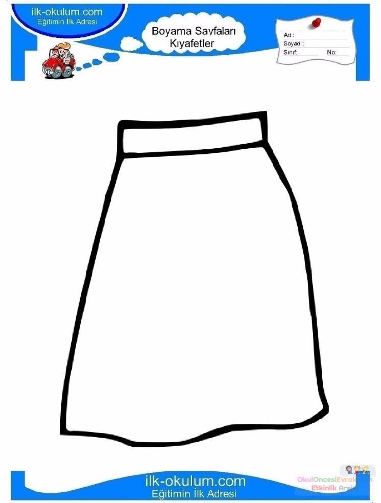 çocuklar Için Etek Kıyafet Giysi Boyama Sayfası 7 Preschool Activity