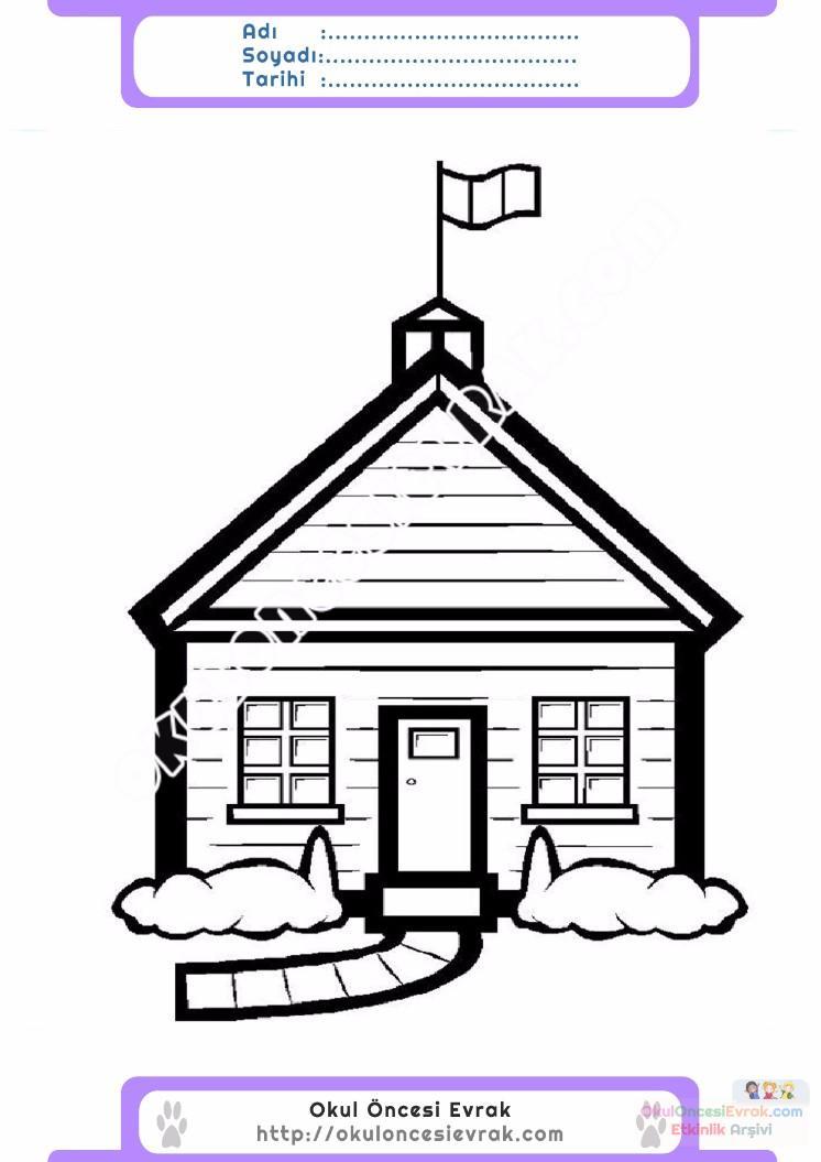 çocuklar Için Ev Yapılar Binalar Boyama Sayfası 3 1 Preschool