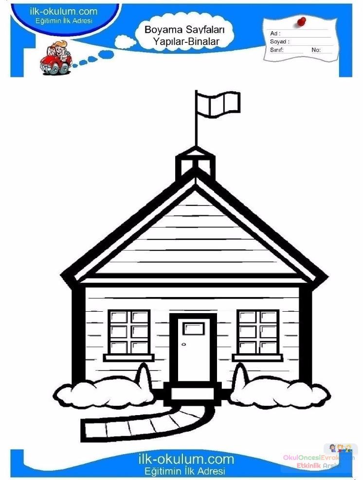 çocuklar Için Ev Yapılar Binalar Boyama Sayfası 3 Preschool Activity