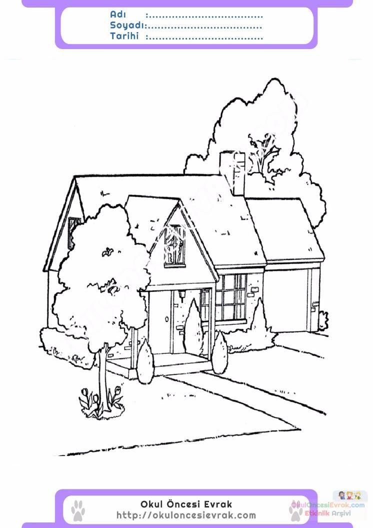 çocuklar Için Ev Yapılar Binalar Boyama Sayfası 39 Preschool Activity