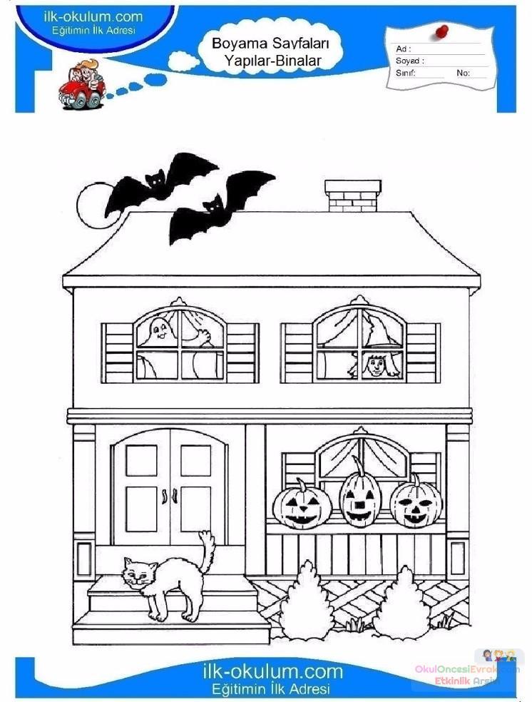 çocuklar Için Ev Yapılar Binalar Boyama Sayfası 4 Preschool Activity