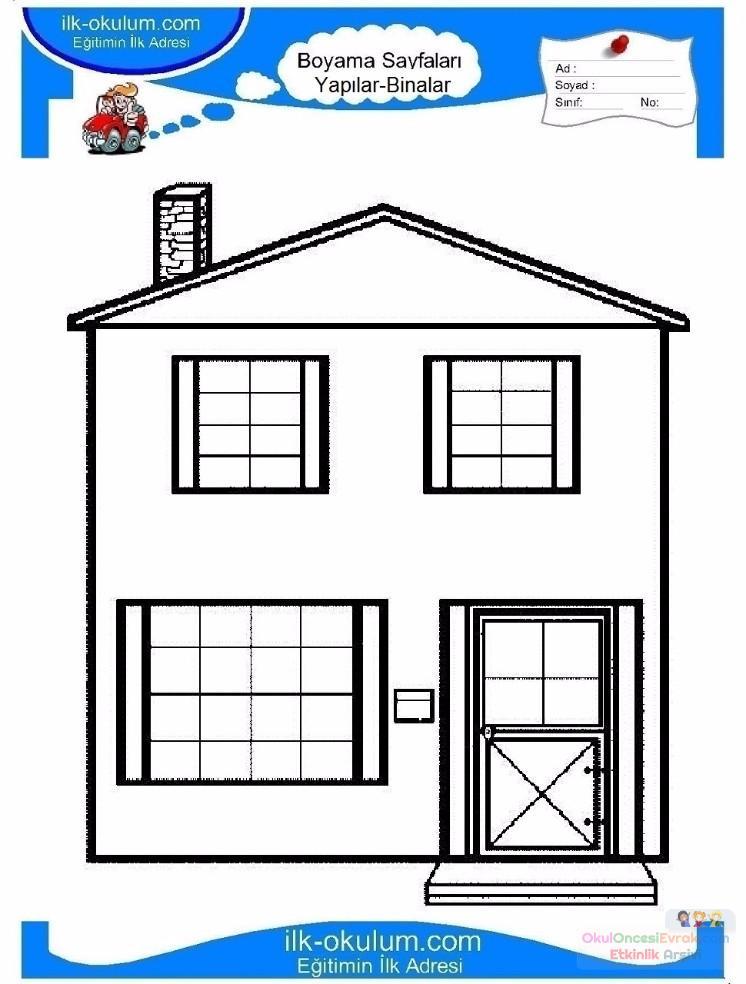 çocuklar Için Ev Yapılar Binalar Boyama Sayfası 9 Preschool Activity