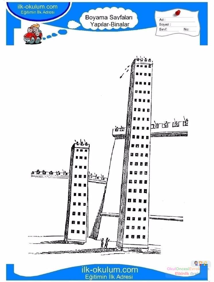 çocuklar Için Gökdelen Yapılar Binalar Boyama Sayfası 7