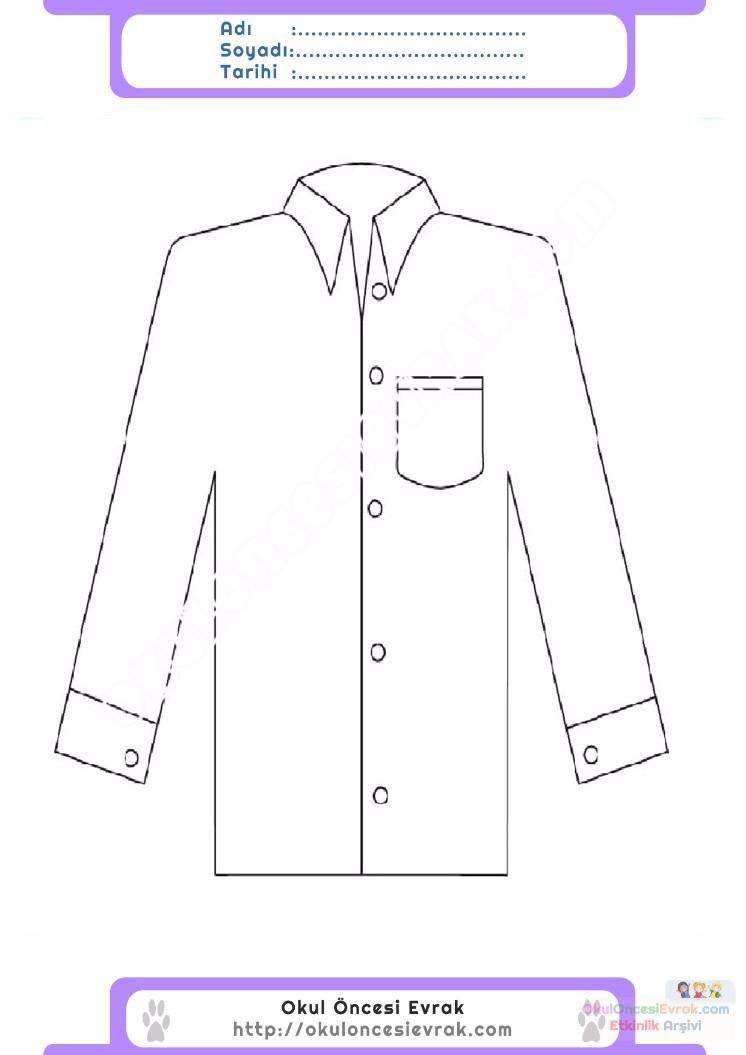 çocuklar Için Gömlek Kıyafet Giysi Boyama Sayfası 13 Preschool