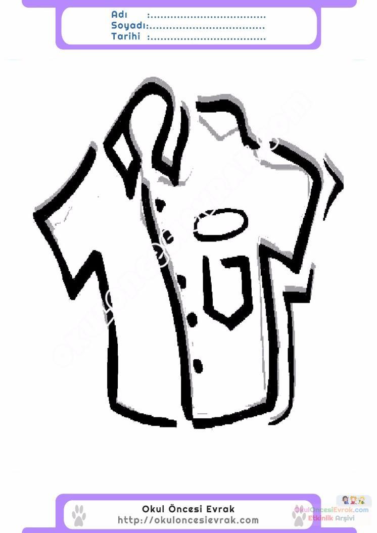 çocuklar Için Gömlek Kıyafet Giysi Boyama Sayfası 16 Preschool