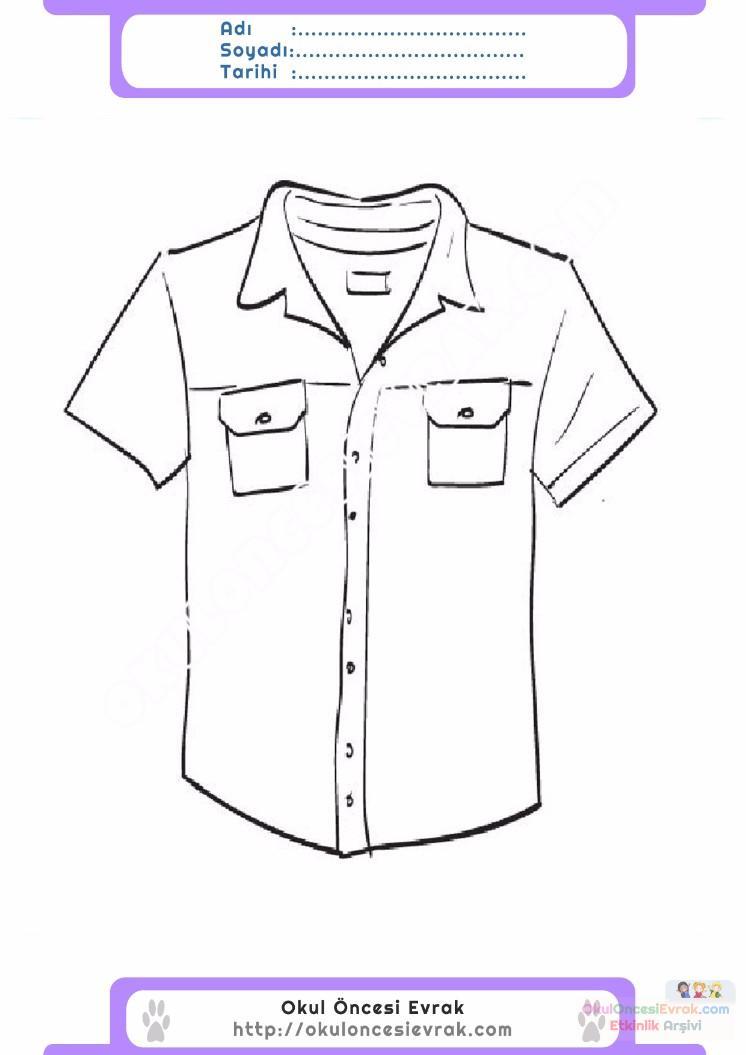 çocuklar Için Gömlek Kıyafet Giysi Boyama Sayfası 3 Preschool Activity