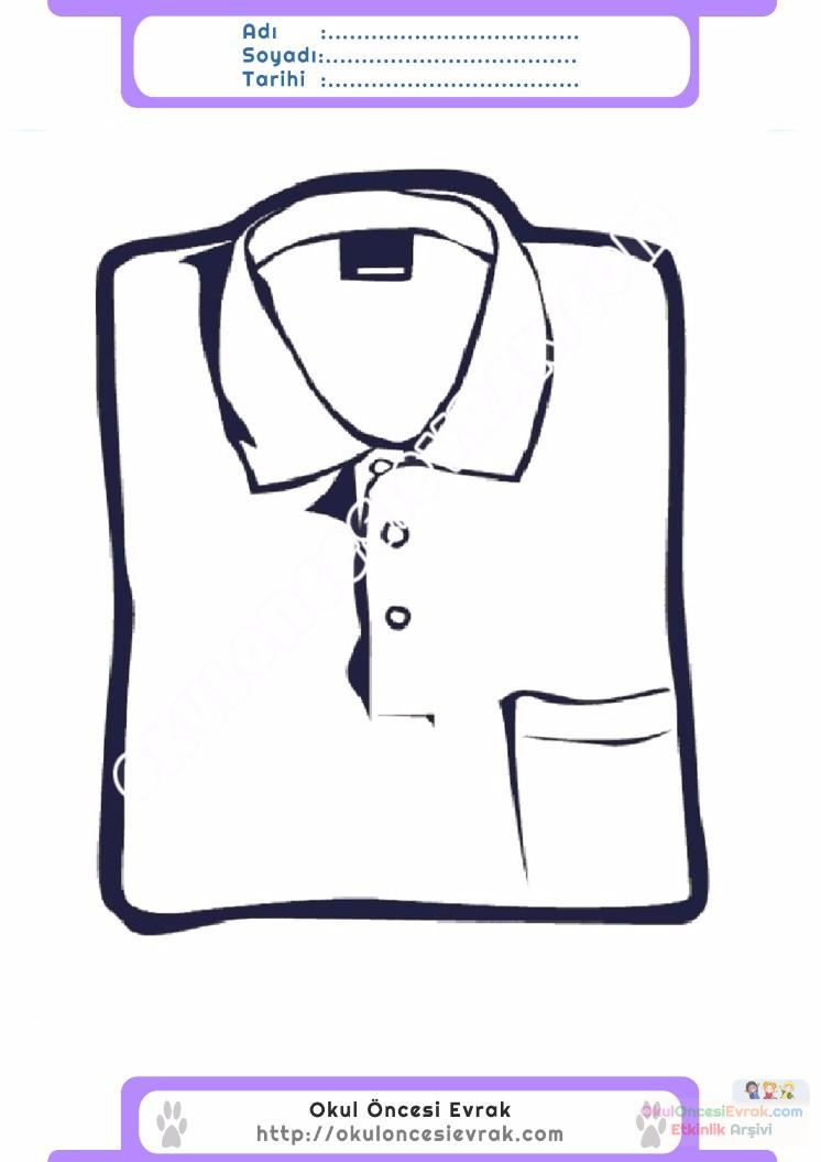 çocuklar Için Gömlek Kıyafet Giysi Boyama Sayfası 5 Preschool Activity