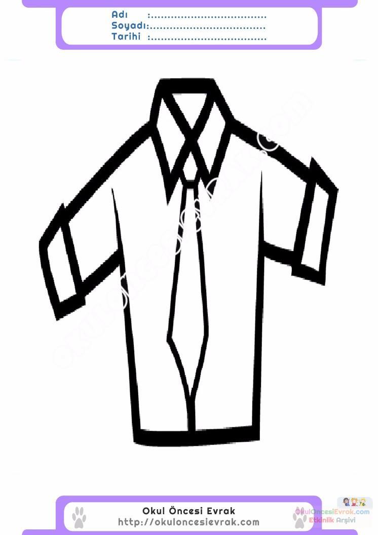 çocuklar Için Gömlek Kıyafet Giysi Boyama Sayfası 7 Preschool Activity