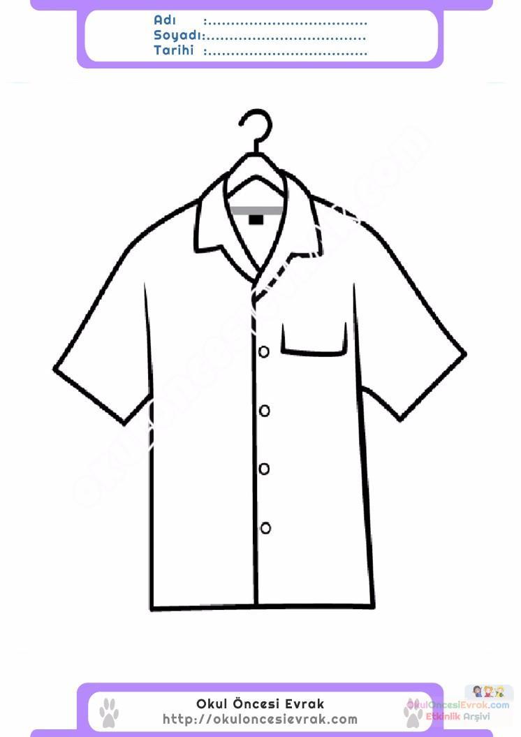 çocuklar Için Gömlek Kıyafet Giysi Boyama Sayfası 9 Preschool Activity