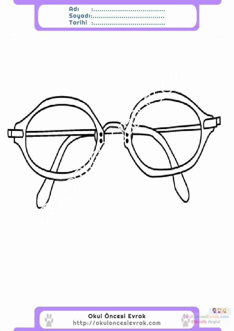çocuklar Için Gözlük Kıyafet Giysi Boyama Sayfası 10 Preschool