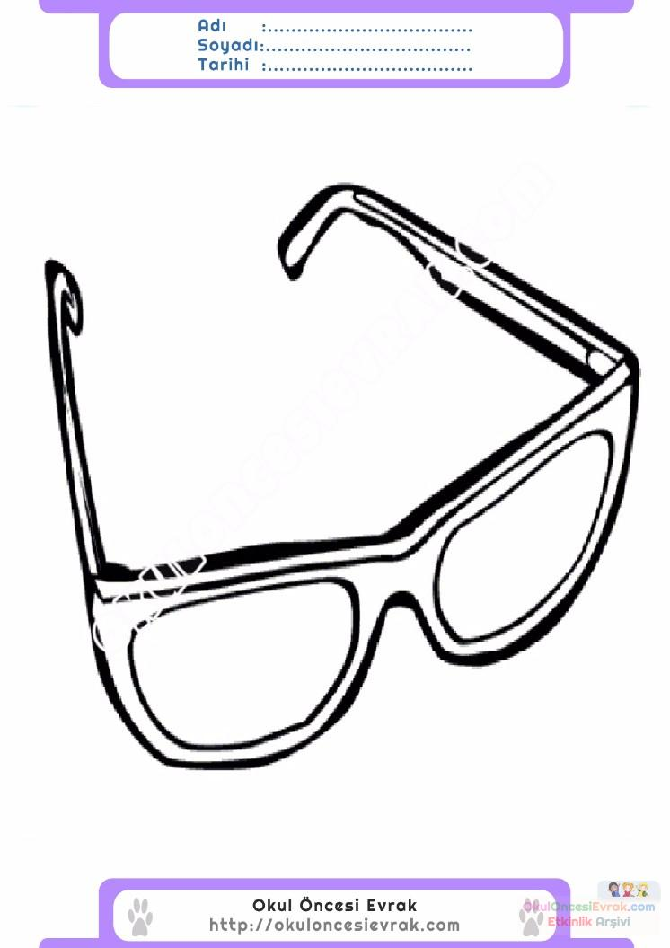 çocuklar Için Gözlük Kıyafet Giysi Boyama Sayfası 12 Preschool