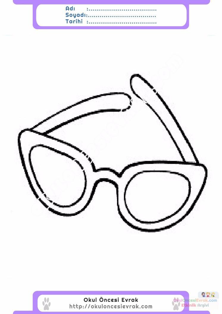 çocuklar Için Gözlük Kıyafet Giysi Boyama Sayfası 13 Preschool