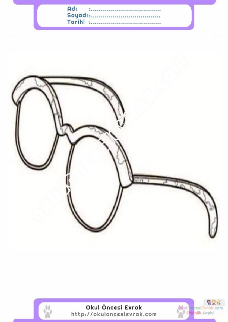çocuklar Için Gözlük Kıyafet Giysi Boyama Sayfası 16 Preschool