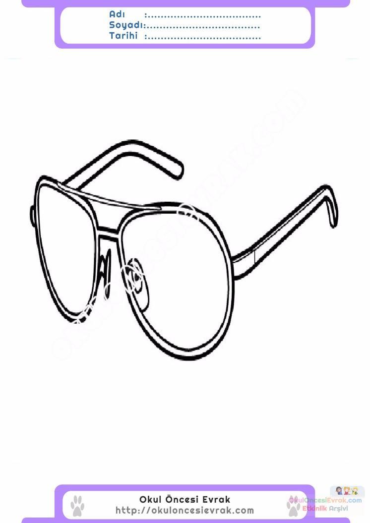 çocuklar Için Gözlük Kıyafet Giysi Boyama Sayfası 2 Preschool Activity