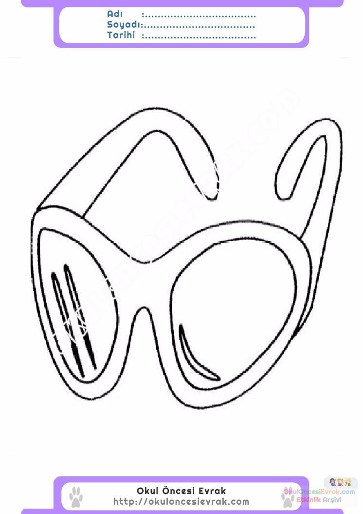 çocuklar Için Gözlük Kıyafet Giysi Boyama Sayfası 5 Preschool Activity