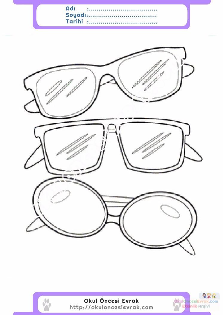 çocuklar Için Gözlük Kıyafet Giysi Boyama Sayfası 7 Preschool Activity