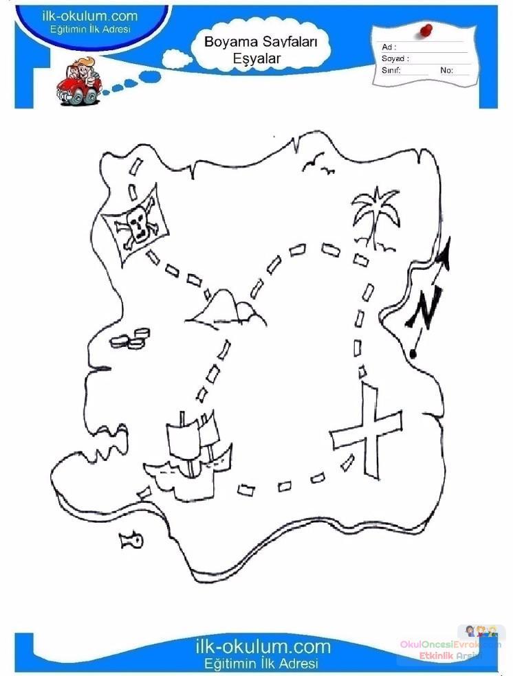 çocuklar Için Harita Eşyalar Boyama Sayfası 1 Preschool Activity