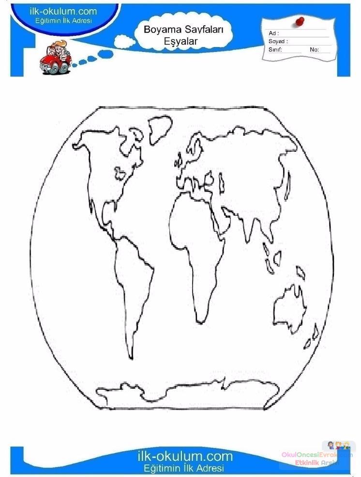 çocuklar Için Harita Eşyalar Boyama Sayfası 4 Preschool Activity
