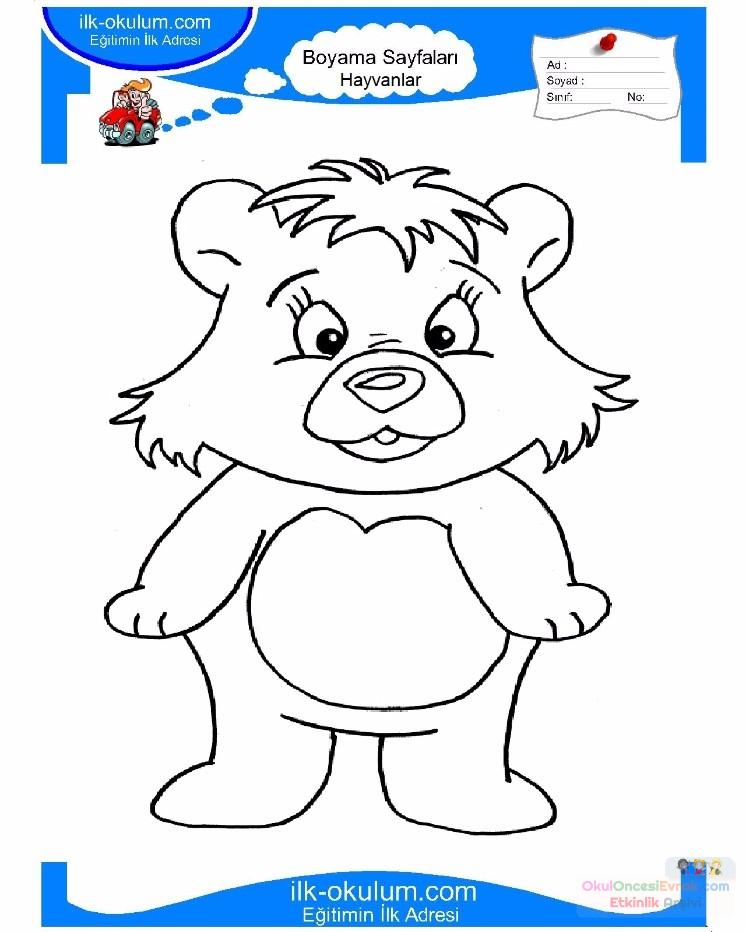 çocuklar Için Hayvan Ayı Boyama Sayfası 16 Preschool Activity
