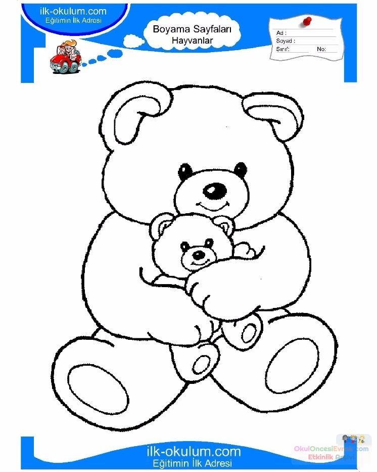 çocuklar Için Hayvan Ayı Boyama Sayfası 9 Preschool Activity