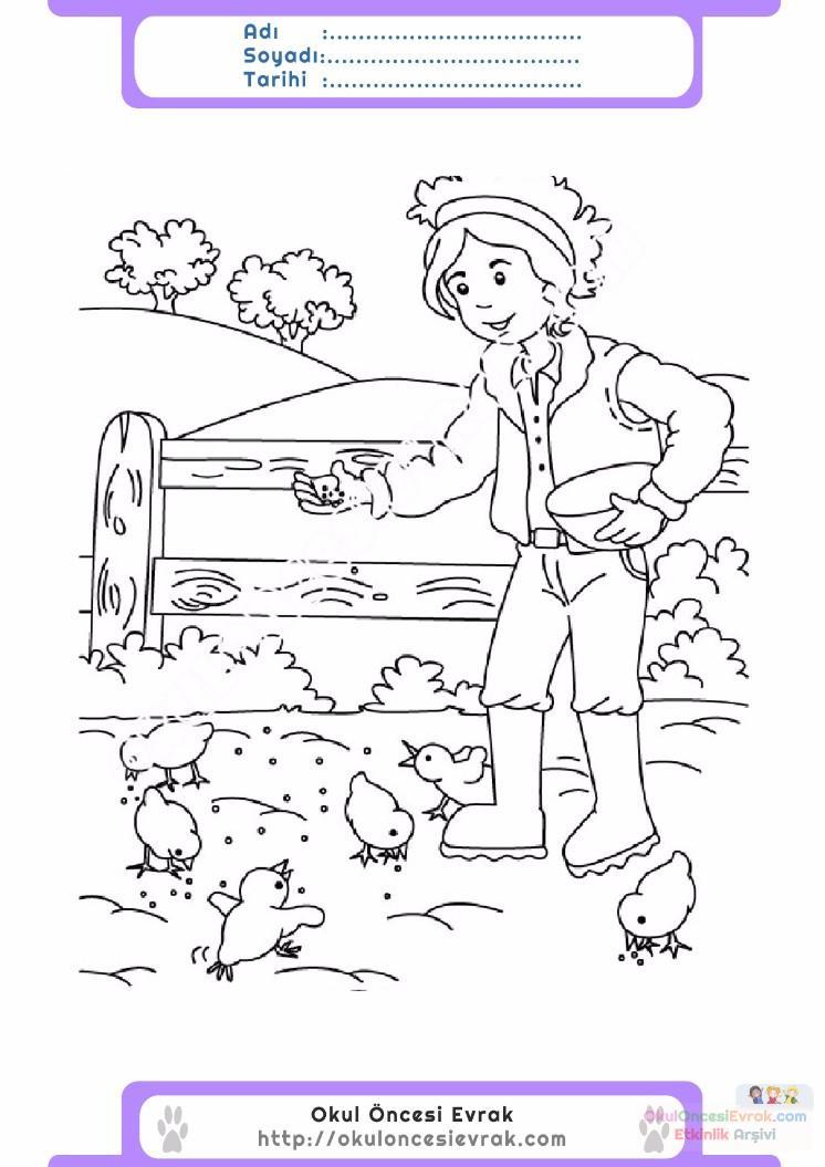 çocuklar Için Hayvan çiftlik Hayvanları Boyama Sayfası 14