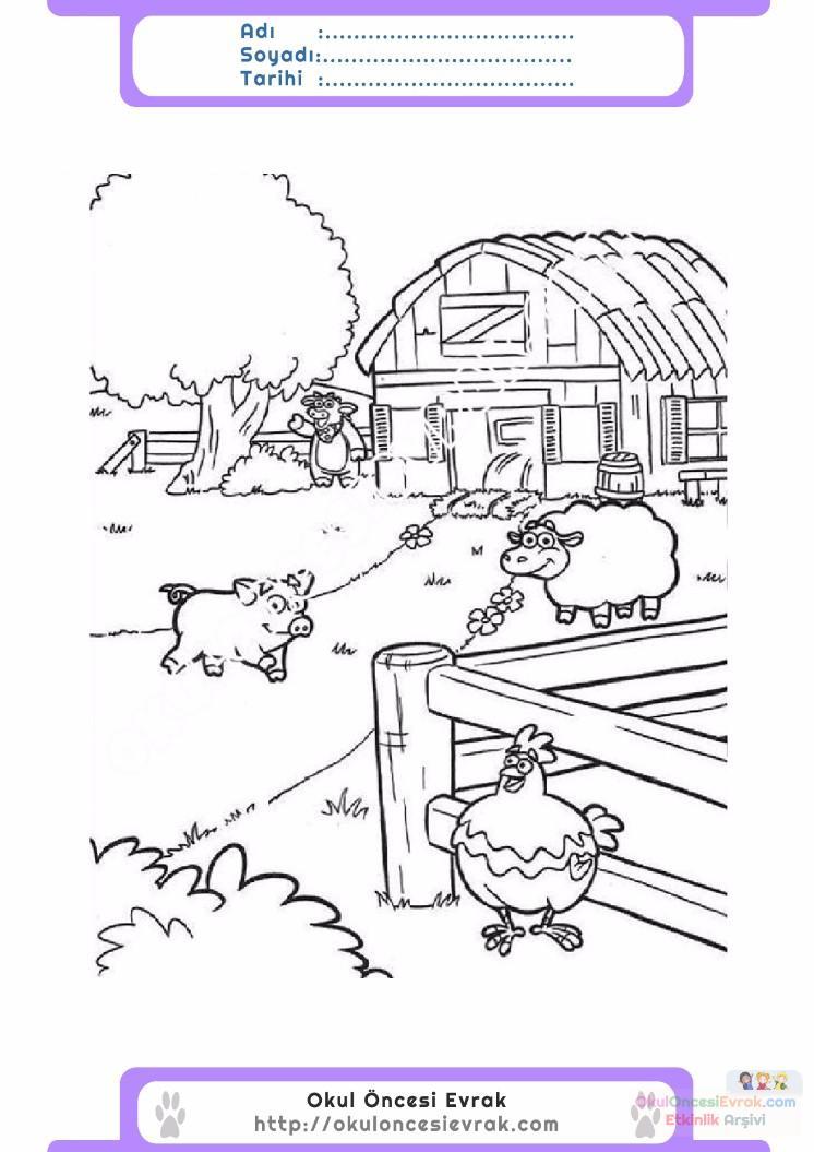 çocuklar Için Hayvan çiftlik Hayvanları Boyama Sayfası 47