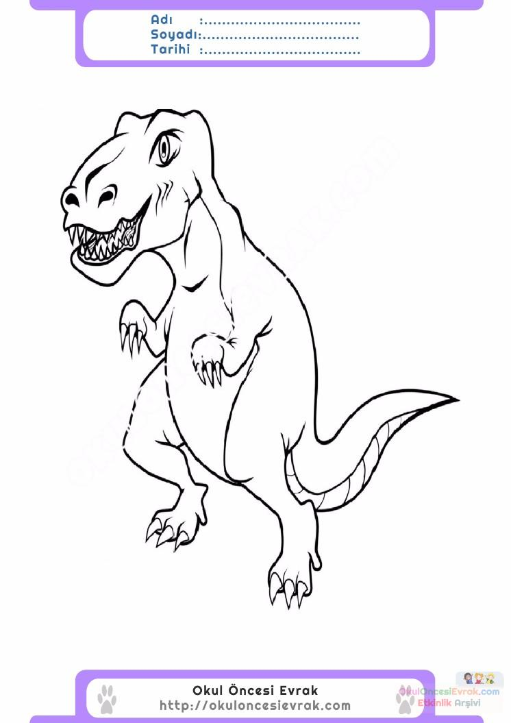 çocuklar Için Hayvan Hayvan Dinozor Boyama Sayfası 3 Preschool