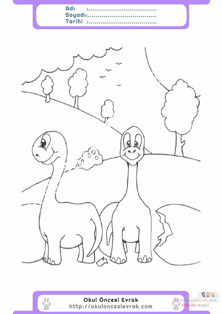 Okul öncesi Dinozor Boyama Sayfaları Okul öncesi Etkinlik