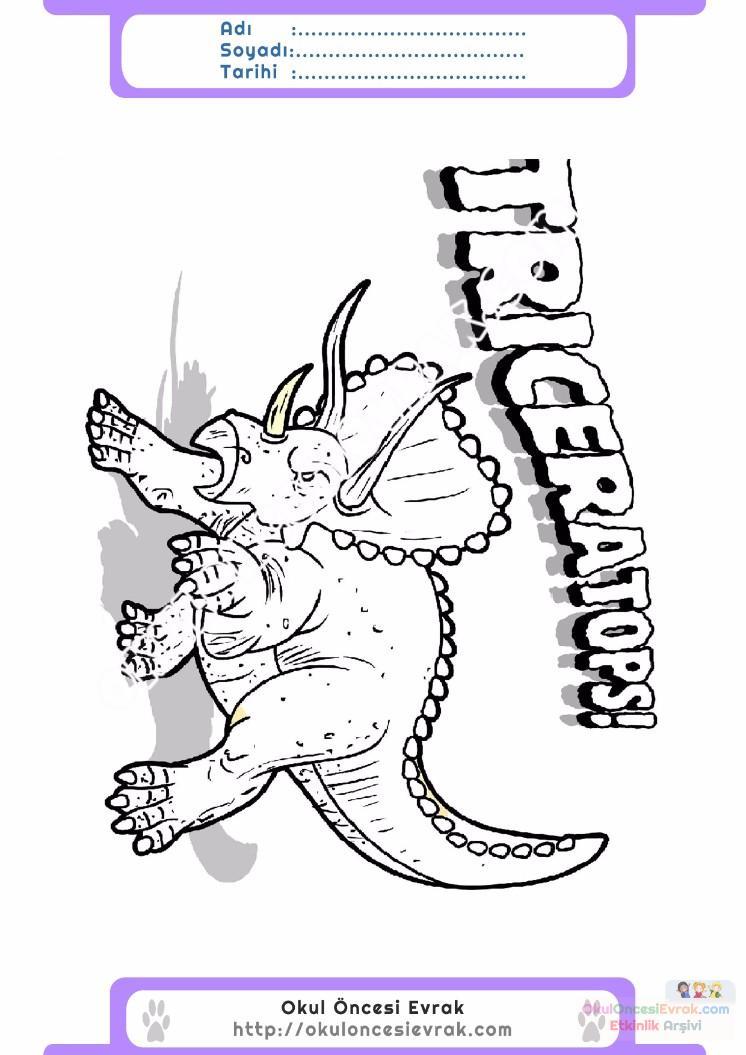 çocuklar Için Hayvan Hayvan Dinozor Boyama Sayfası 44 Preschool