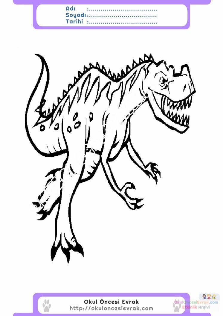 çocuklar Için Hayvan Hayvan Dinozor Boyama Sayfası 48 Preschool