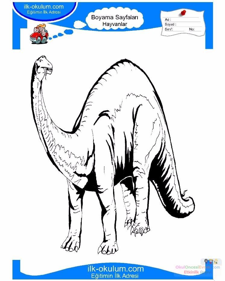 çocuklar Için Hayvan Hayvan Dinozor Boyama Sayfası 5 Preschool