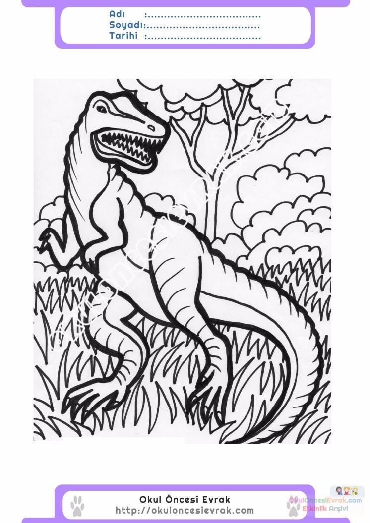 çocuklar Için Hayvan Hayvan Dinozor Boyama Sayfası 9 1 Preschool