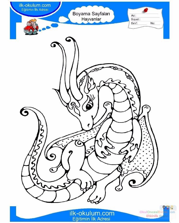çocuklar Için Hayvan Hayvan Ejderha Boyama Sayfası 16 Preschool