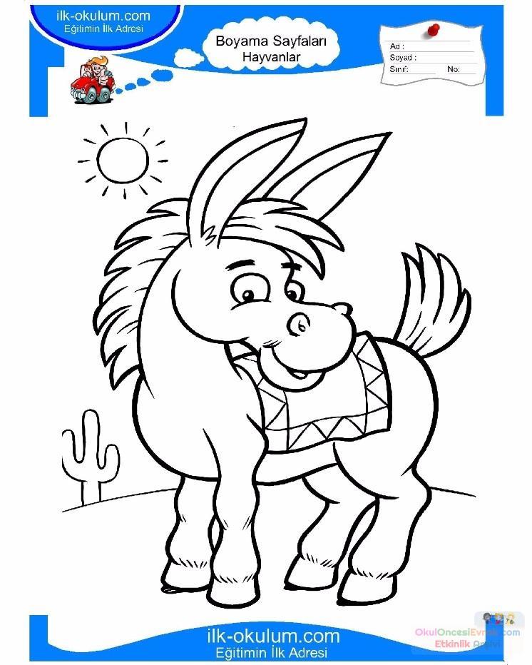 çocuklar Için Hayvan Hayvan Eşek Boyama Sayfası 16 1 Preschool