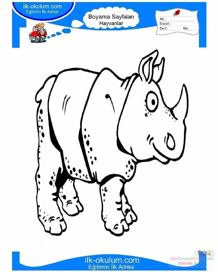 Cocuklar Icin Hayvan Hayvan Gergedan Boyama Sayfasi 23 Preschool