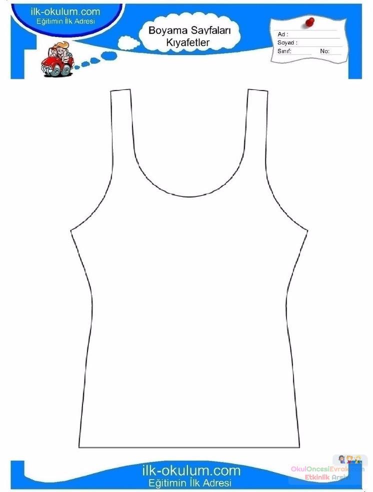 çocuklar Için Iç çamaşırı Kıyafet Giysi Boyama Sayfası 13