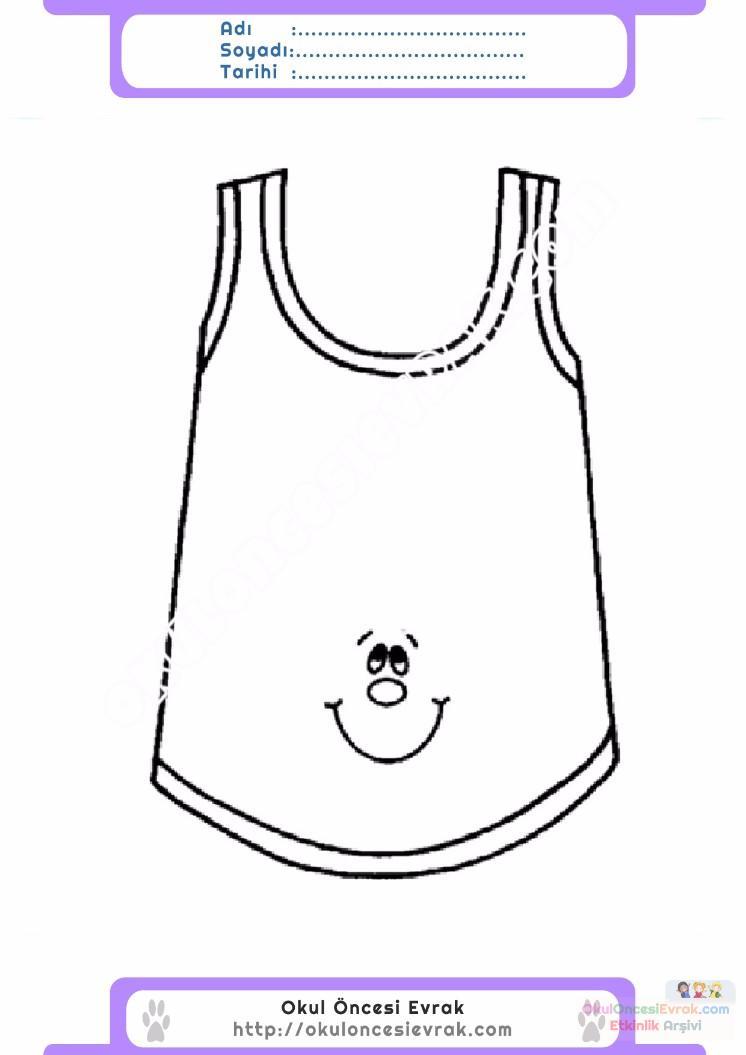 çocuklar Için Iç çamaşırı Kıyafet Giysi Boyama Sayfası 2 Preschool