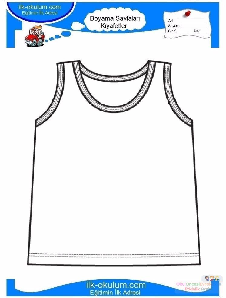 çocuklar Için Iç çamaşırı Kıyafet Giysi Boyama Sayfası 8 Preschool