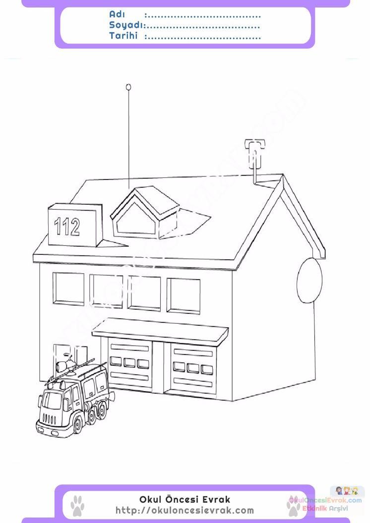 çocuklar Için Itfaiye Yapılar Binalar Boyama Sayfası 2 Preschool