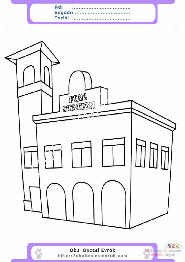 çocuklar Için Itfaiye Yapılar Binalar Boyama Sayfası 4 Preschool