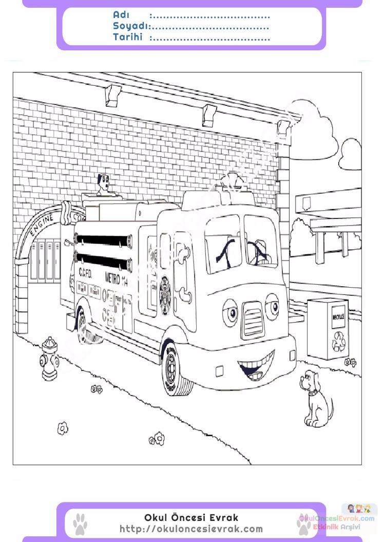 çocuklar Için Itfaiye Yapılar Binalar Boyama Sayfası 6 Preschool