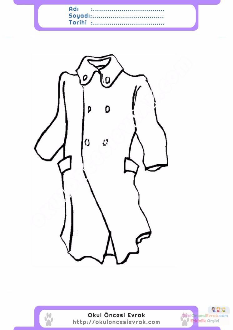 çocuklar Için Kaban Mont Kıyafet Giysi Boyama Sayfası 1 1