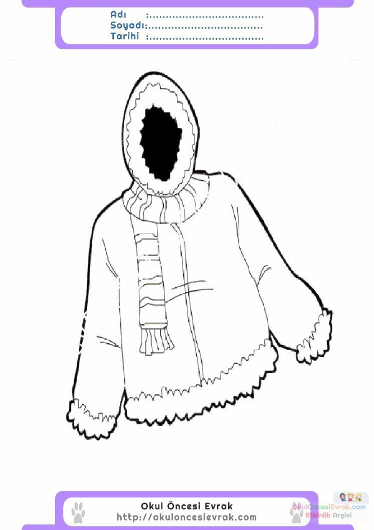 çocuklar Için Kaban Mont Kıyafet Giysi Boyama Sayfası 10 1