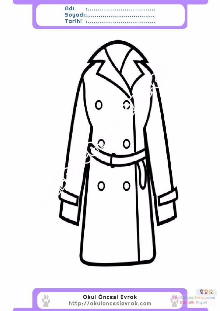 çocuklar Için Kaban Mont Kıyafet Giysi Boyama Sayfası 11 Preschool