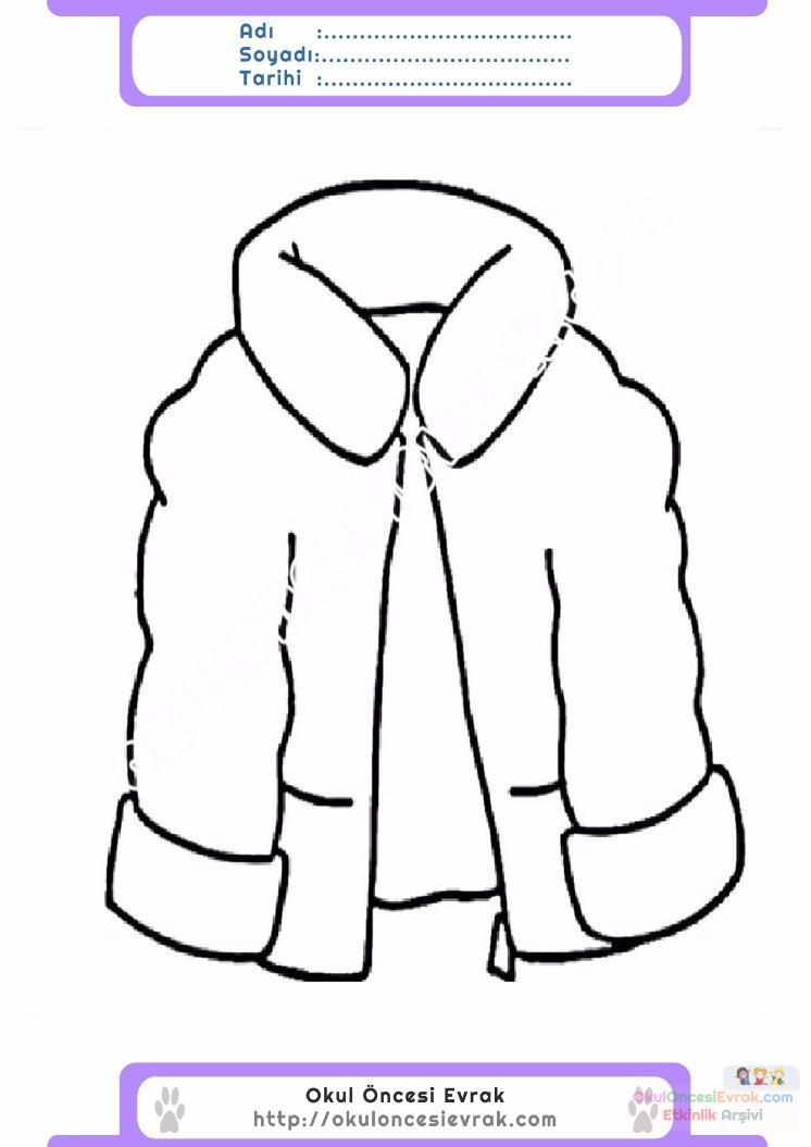 çocuklar Için Kaban Mont Kıyafet Giysi Boyama Sayfası 14 Preschool