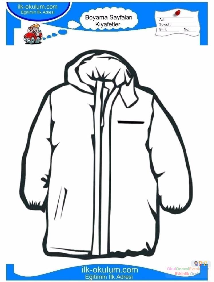 çocuklar Için Kaban Mont Kıyafet Giysi Boyama Sayfası 15 1